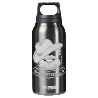 Attitude- cowboy cat insulated water bottle