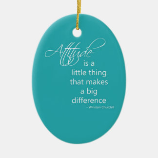 Attitude Double-Sided Oval Ceramic Christmas Ornament
