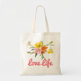 Attitude Floral Lily Flowers Pink, Orange, Yellow Tote Bag