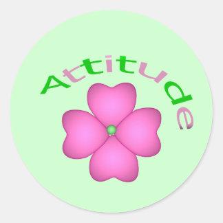 Attitude Flower Inspirational Round Sticker