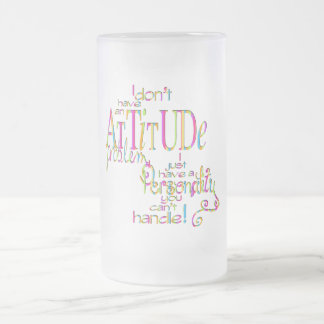 Attitude - Frosted Glass Stein 16 Oz Frosted Glass Beer Mug