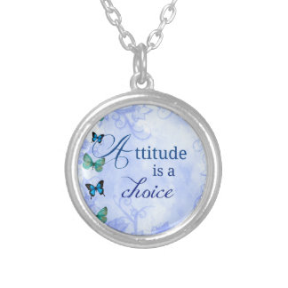 Attitude is a choice Inspiration Blue Butterflies Round Pendant Necklace