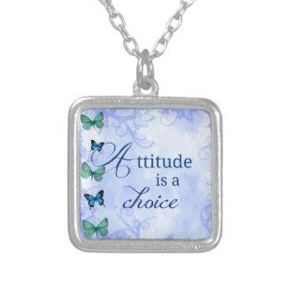Attitude is a choice Inspiration Blue Butterflies Square Pendant Necklace