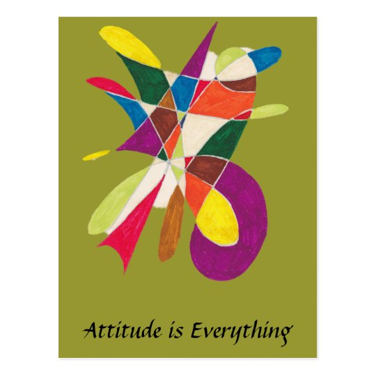 Attitude is Everything-Abstract Pencil Sketch Postcard