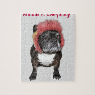 attitude is everything funny bulldog with hat jigsaw puzzle