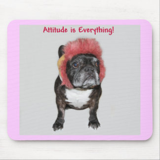 attitude is everything funny bulldog with hat mousepad