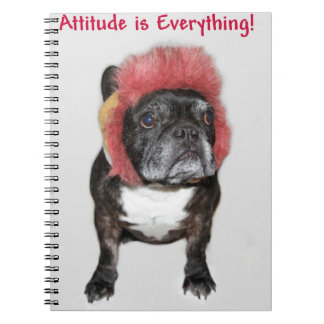 attitude is everything funny bulldog with hat notebooks