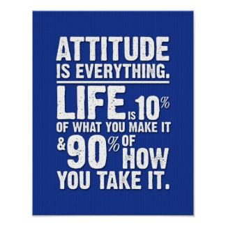 Attitude is Everything Poster - Blue