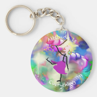 Attitude is Everything - Woman - Colorful Back Keychain