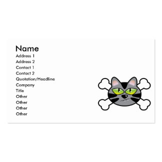 attitude kitty cat and crossbones business card