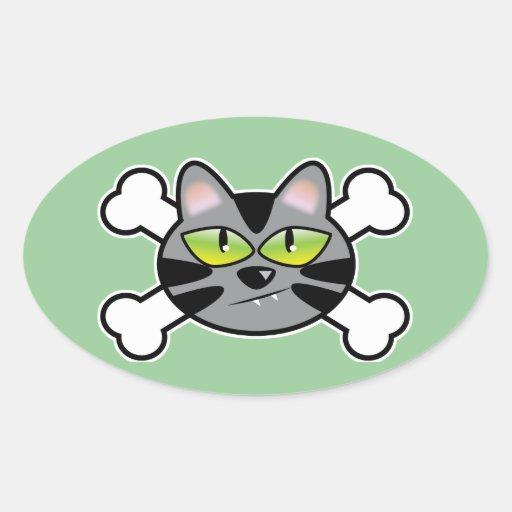 attitude kitty cat and crossbones oval sticker