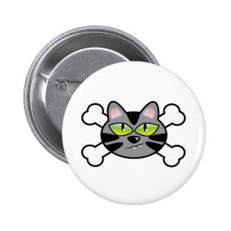 attitude kitty cat and crossbones pin