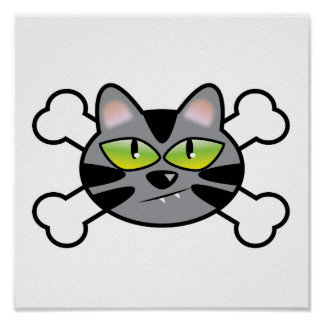 attitude kitty cat and crossbones posters