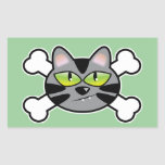 attitude kitty cat and crossbones rectangular stickers