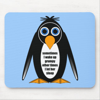 attitude penguin mouse pad