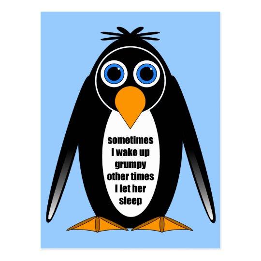 attitude penguin postcard