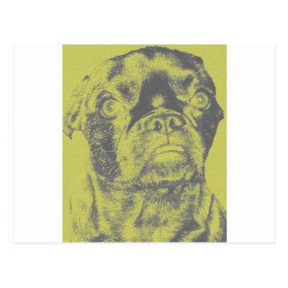 Attitude Puggle Face Postcard