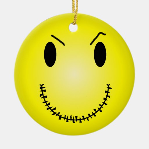 Attitude Smiley Double-Sided Ceramic Round Christmas Ornament