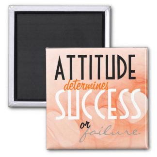 Attitude...Success Orange Heart Background 2 Inch Square Magnet