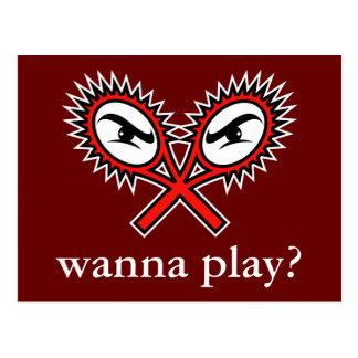 Attitude tennis postcard -  Wanna play?