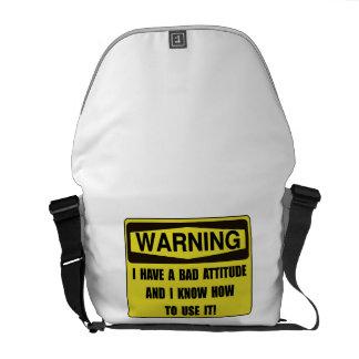 Attitude Warning Messenger Bag