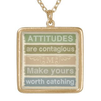 ATTITUDES custom monogram motivational necklace