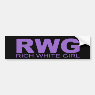 """Attitudes - """"Rich White Girl"""" Car Bumper Sticker"""