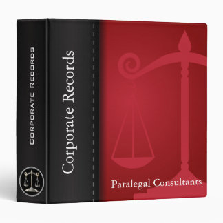 Attonery at Law | Scales of Justice | Red | Lawyer 3 Ring Binder