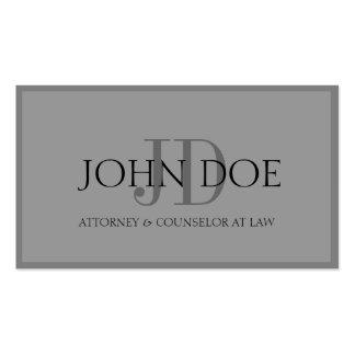 Attorney Aged Silver/Graphite Monogram/Border Business Card Templates