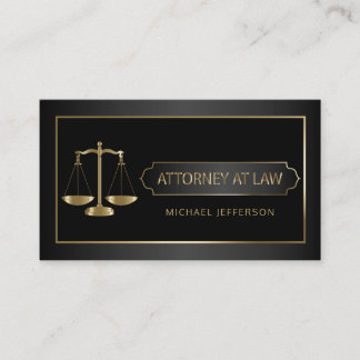 Attorney at Law - Black and Gold Business Card