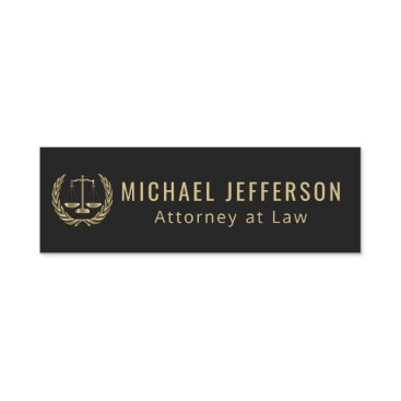 Attorney at Law  - Black and Gold Name Tag