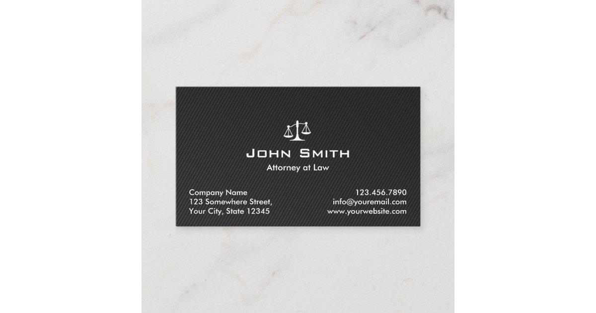 Attorney at Law Black Carbon Fiber Lawyer Business Card | Zazzle.com