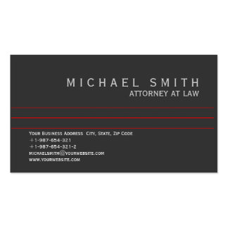 Attorney at Law Business Card Grey White Red