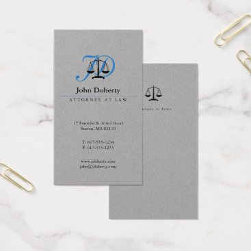 Attorney at Law | Classy Blue Scales of Justice Business Card
