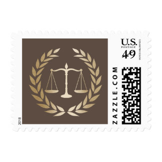 Attorney at Law Classy Brown & Gold Lawyer Postage