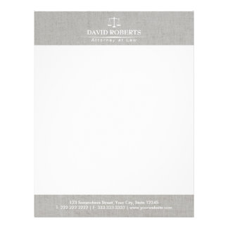 Attorney at Law Classy Linen Law Scales Lawyer Letterhead
