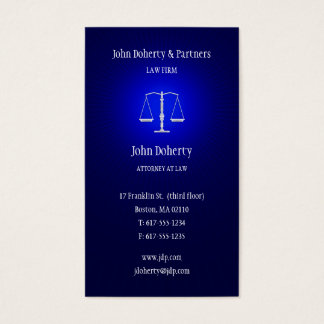 Attorney at Law   Dark Blue Glowing Business Card