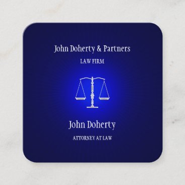 Attorney at Law | Dark Blue Glowing Square Business Card