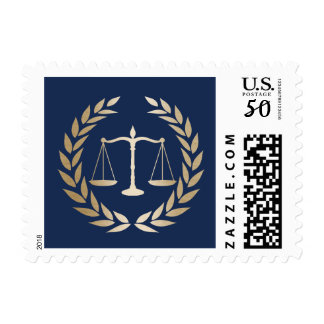 Attorney at Law Elegant Blue & Gold Lawyer Postage
