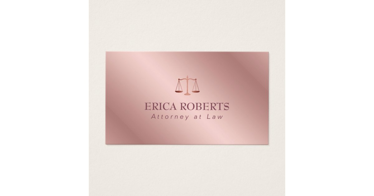 Attorney at Law Elegant Foil Rose Gold Lawyer Business Card | Zazzle.com