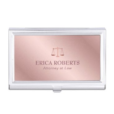 Lawyer Themed Attorney at Law Elegant Foil Rose Gold Lawyer Business Card Case