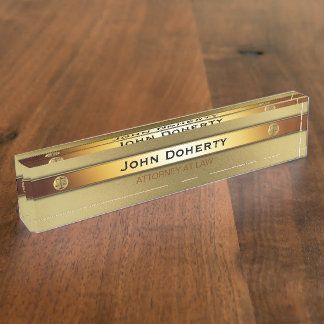 ATTORNEY AT LAW elegant gold Name Plate