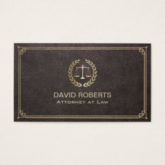 Attorney At Law Elegant Leather Gold Scale Lawyer Business Card at Zazzle