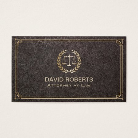 Attorney At Law Elegant Leather Gold Scale Lawyer Business Card