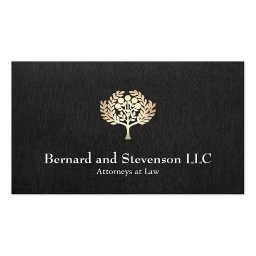 Attorney at Law Faux Gold Leaf and Black Linen Business Card Templates