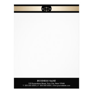 Attorney at Law Gold Border Law Scales Lawyer Letterhead