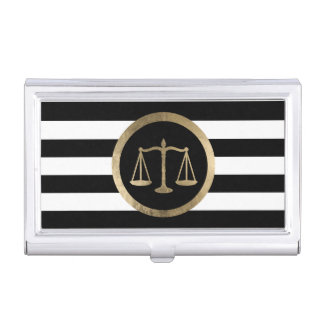 Attorney at Law Gold Scale Modern Stripes Lawyer Business Card Case