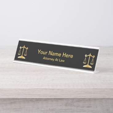 Attorney at Law | Lawyer - Black and Gold Desk Name Plate