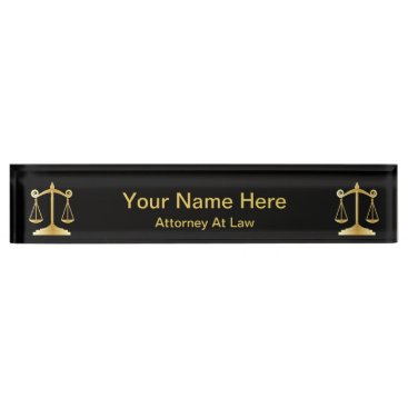 Lawyer Themed Attorney at Law | Lawyer - Black and Gold Desk Name Plate