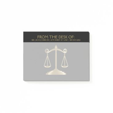 Lawyer Themed Attorney at Law - Lawyer - Black and Gold Post-it Notes